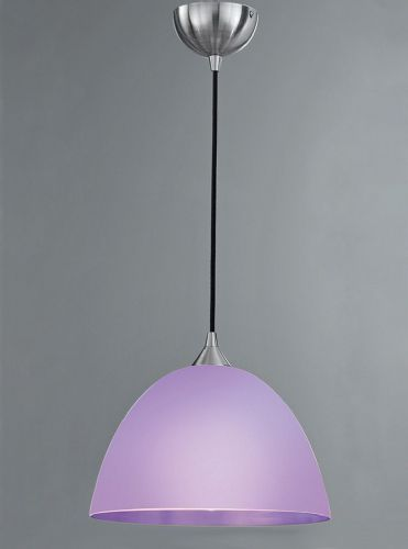 Franklite FL2290/1/950 Satin Nickel & Lilac Pendant Light